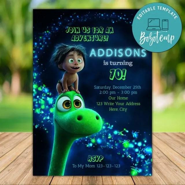 editable good dinosaur birthday invitation instant download