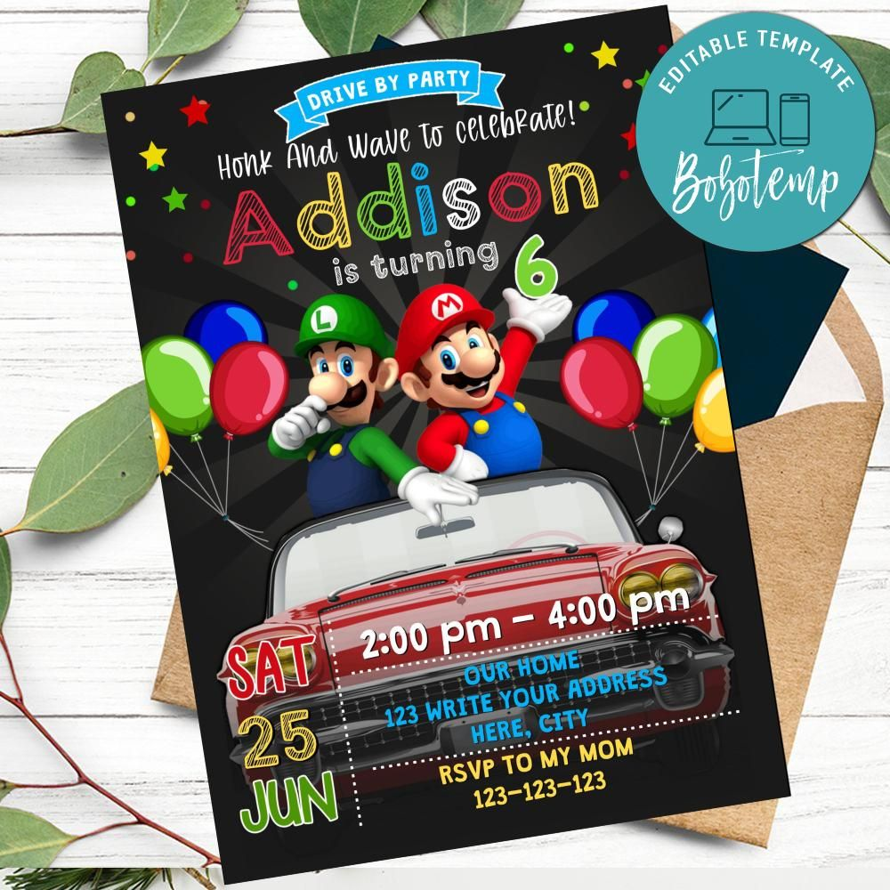 super mario drive by birthday parade invitation printable diy