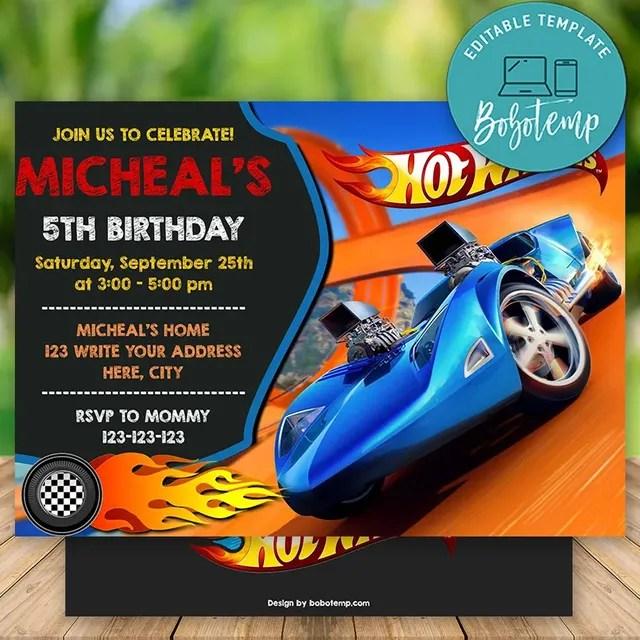 Editable Hot Wheels Birthday Invitations Instant Download Bobotemp