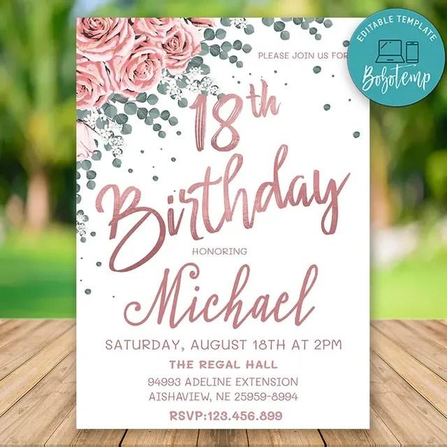 editable rose gold 18th birthday invitation instant download