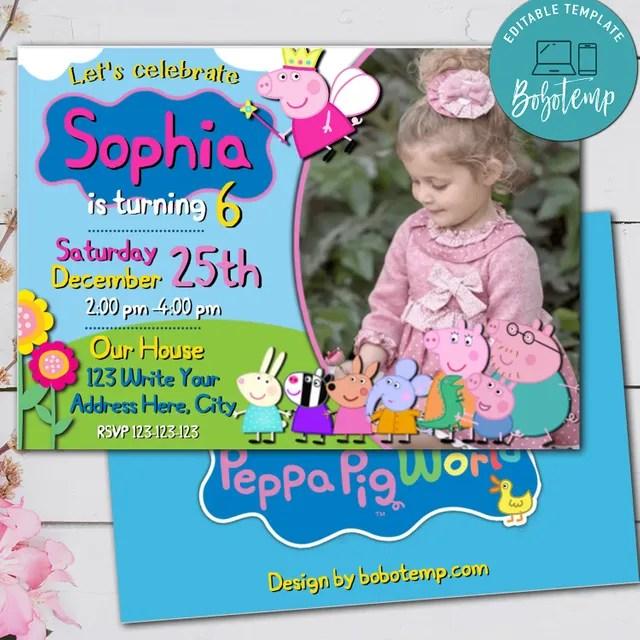 editable peppa pig birthday invitation with photo digital file