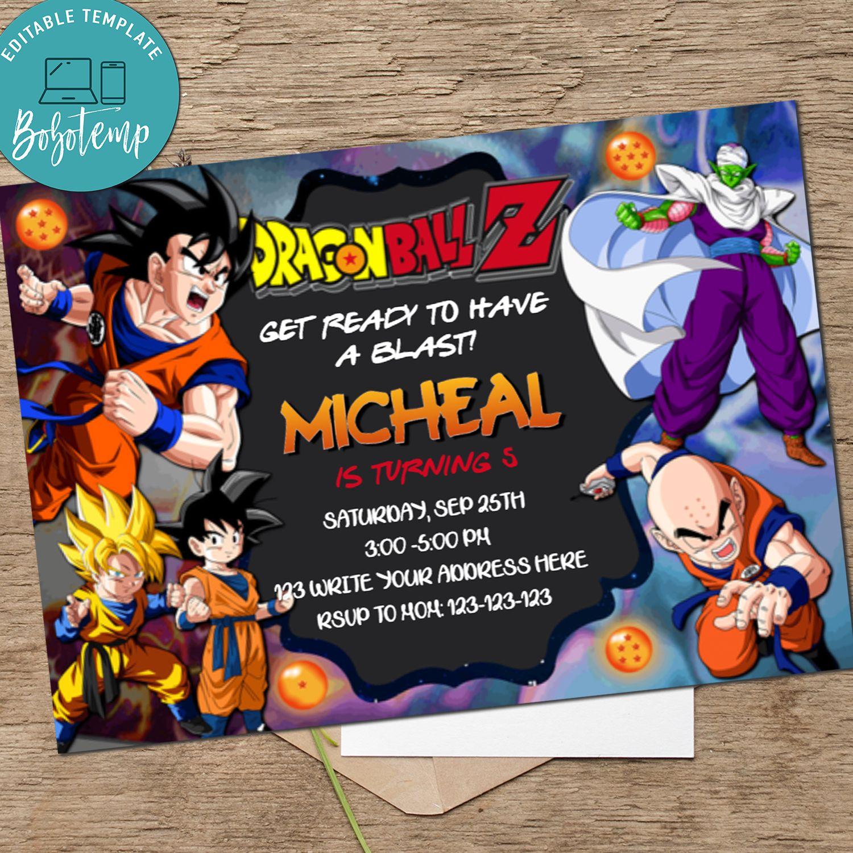 Dragon Ball Birthday Invitation Dragonball Z Invitation Printable Bobotemp