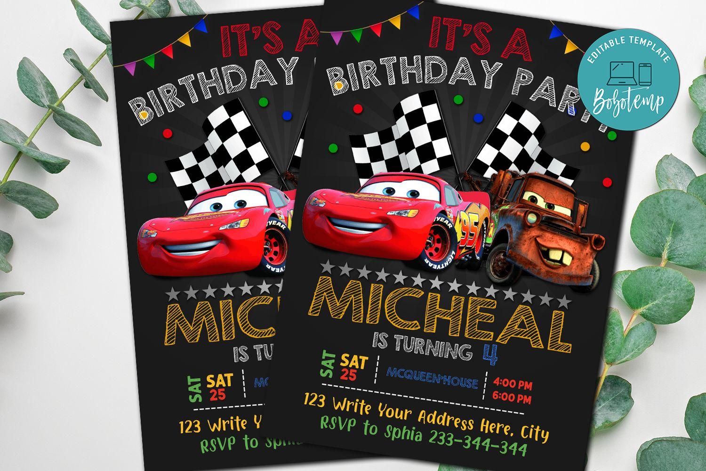 editable mcqueen car disney car birthday invitations diy