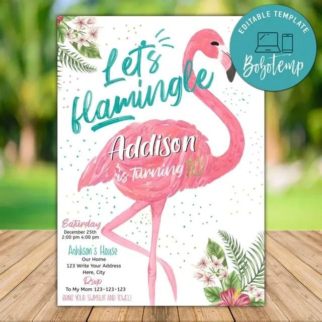 editable flamingo birthday invitation instant download