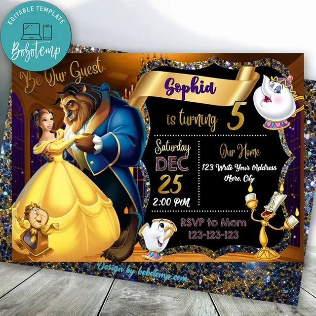 Editable Beauty And Beast Birthday Invitation Instant Download Bobotemp