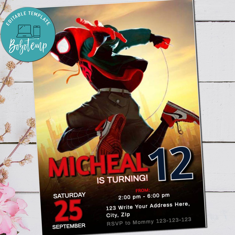 spider man birthday invitation into the spiderverse invite diy