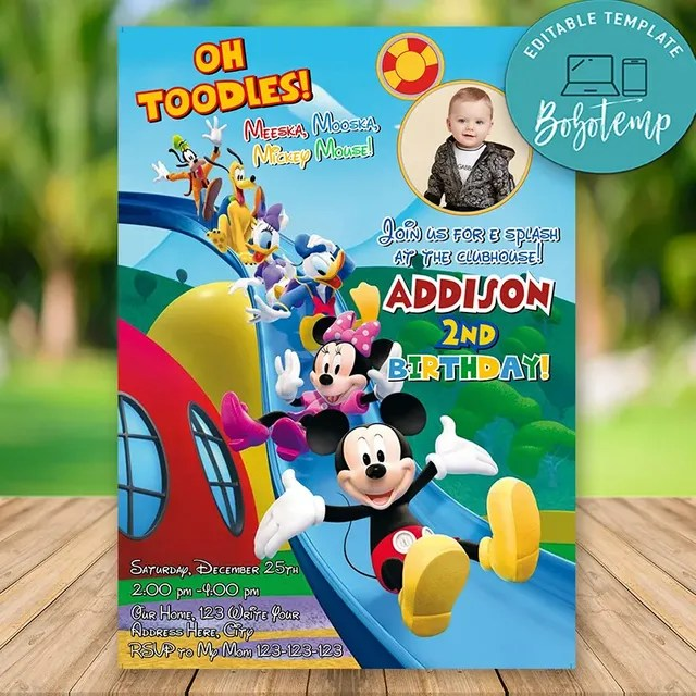 Editable Mickey Mouse Clubhouse Pool Party Invitations With Photo Bobotemp
