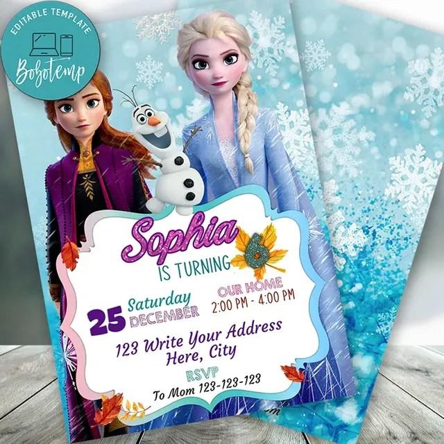 editable frozen 2 elsa anna birthday invitation instant download