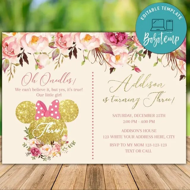 printable minnie mouse pink gold glitter 3rd birthday invites
