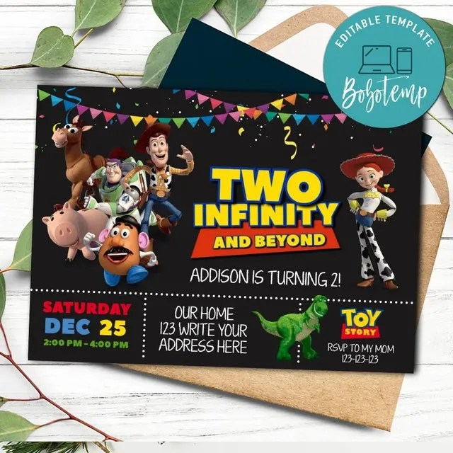 printable toy story two infinity and beyond birthday invitations