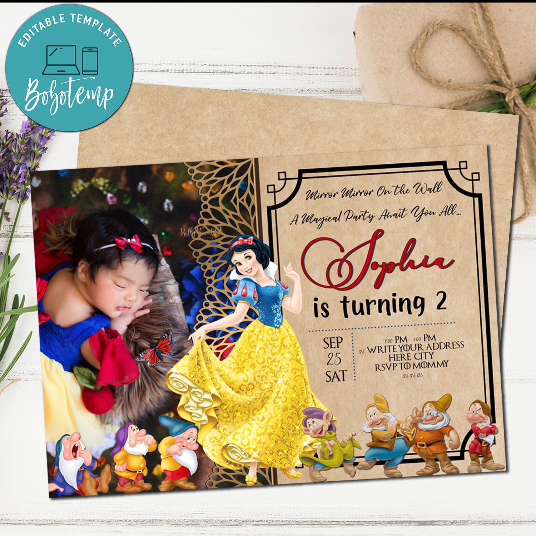 Snow White Birthday Invitation Snow White Party With Photo Bobotemp