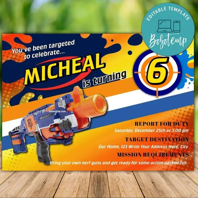 printable dart blaster birthday invitation instant download
