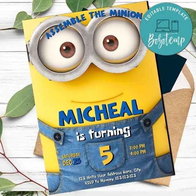 editable boy minion evite minion invitation digital file