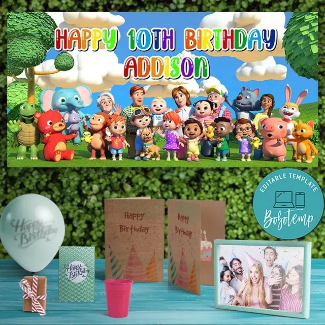 cocomelon birthday banner printable instant download