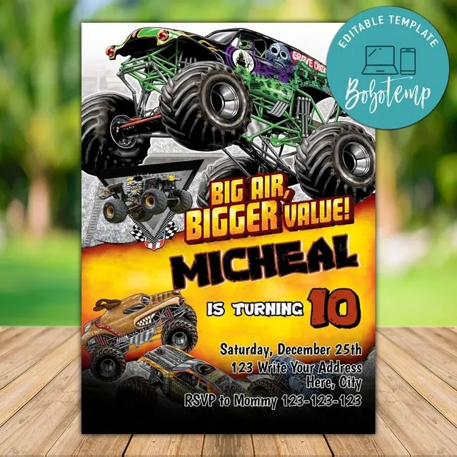 editable monster truck birthday invitation instant download