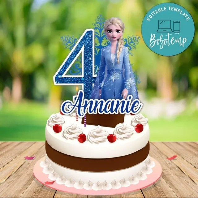 Printable Frozen 2 Elsa Birthday Cake Topper Template Diy Bobotemp