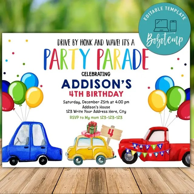 printable car parade invitation templates and free thank you tag
