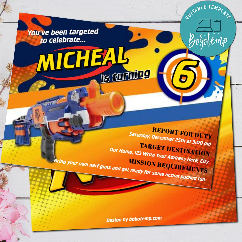 editable nerf gun dart gun birthday party invitation diy