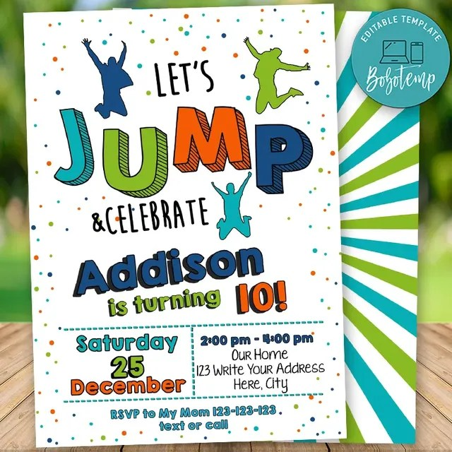 Editable Jump Trampoline Birthday Invitation Instant Download Bobotemp