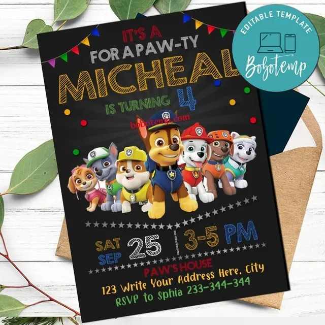 paw patrol party invitation and paw patrol thank you card