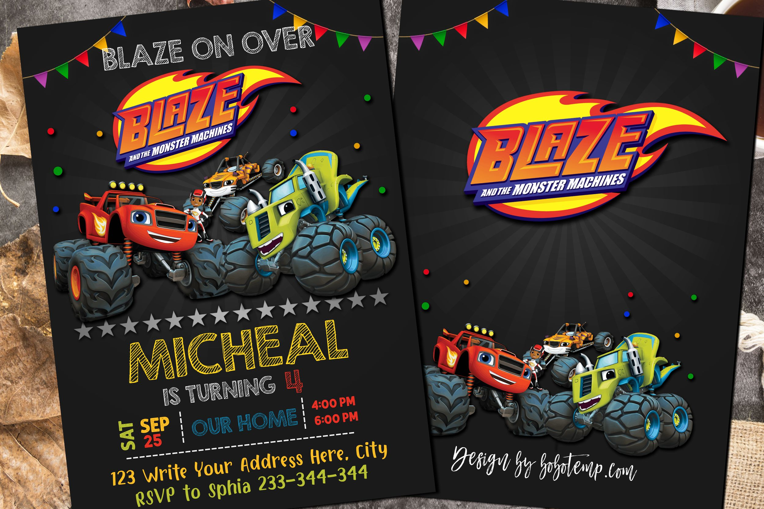 Editable Blaze And The Monster Machines Birthday Invitation Diy Bobotemp