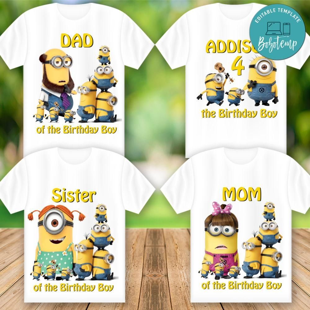 printable minions birthday shirt for family digital file diy