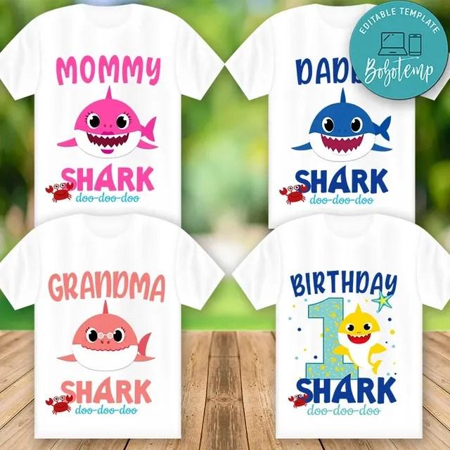 Printable Baby Shark Birthday Shirts For Family Digital File Diy Bobotemp