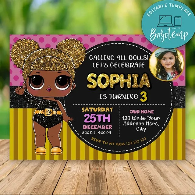 printable lol surprise queen bee invitations with photo diy bobotemp