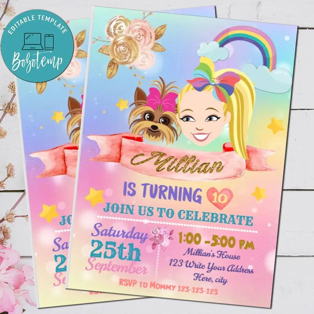 personalised jojo siwa party invites