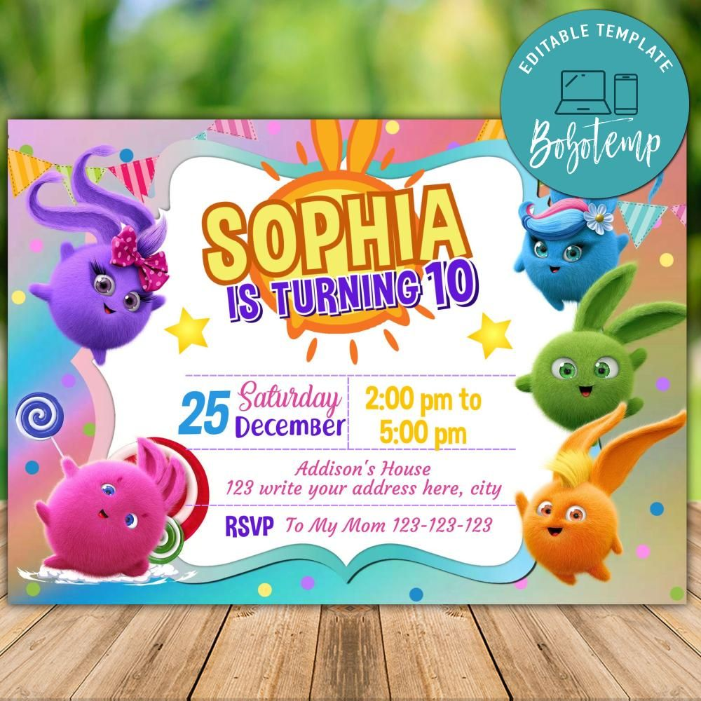 editable sunny bunnies birthday invitation instant download