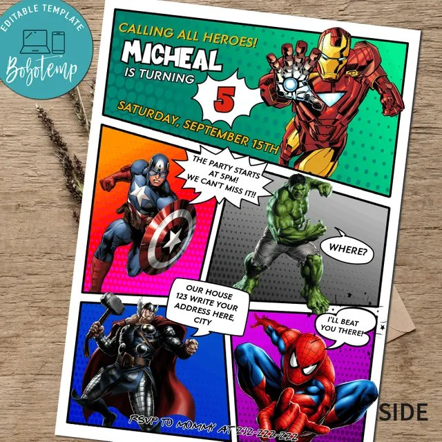 calling all avengers comic birthday party invitation printable