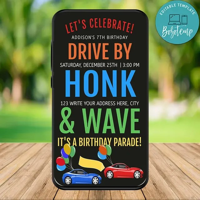 electronic drive by birthday parade invitation template diy