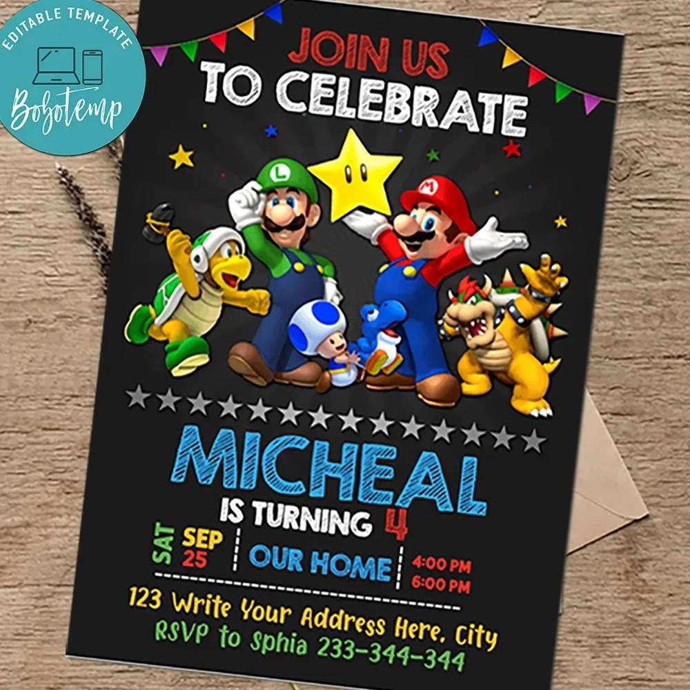 super mario invitations birthday party