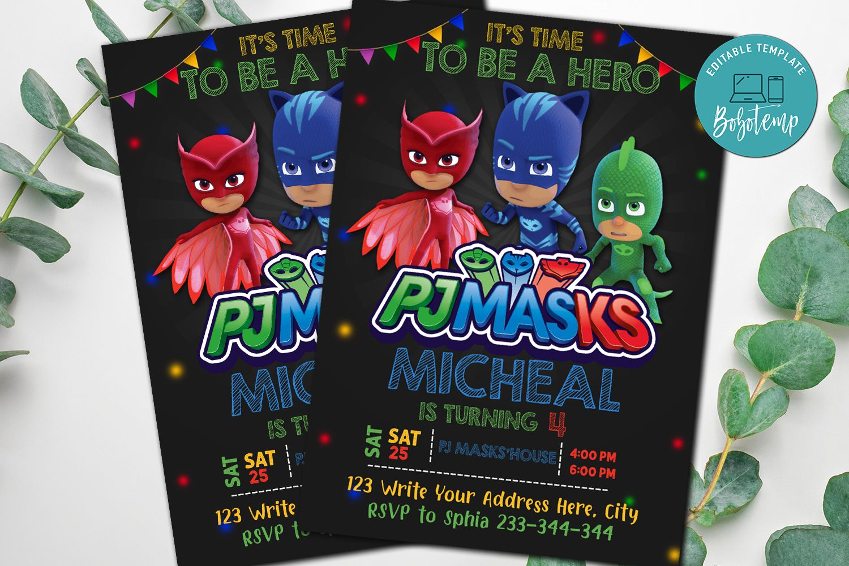 Pj Masks Party Invitation Pj Masks Superheros Invitation Diy Bobotemp