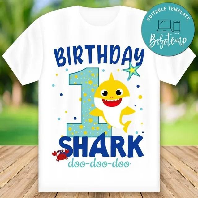 Editable Boy Baby Shark First Birthday Shirt Digital File Diy Bobotemp