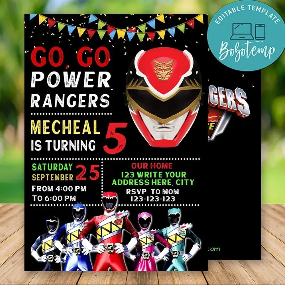Birthday Invitation Card Power Rangers Invitation Template Greeting Cards Near Me
