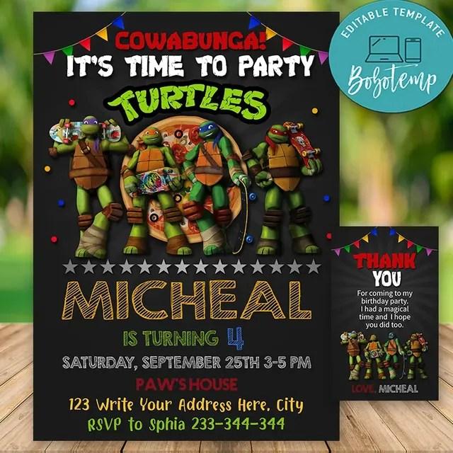 editable ninja turtle birthday invitations instant download