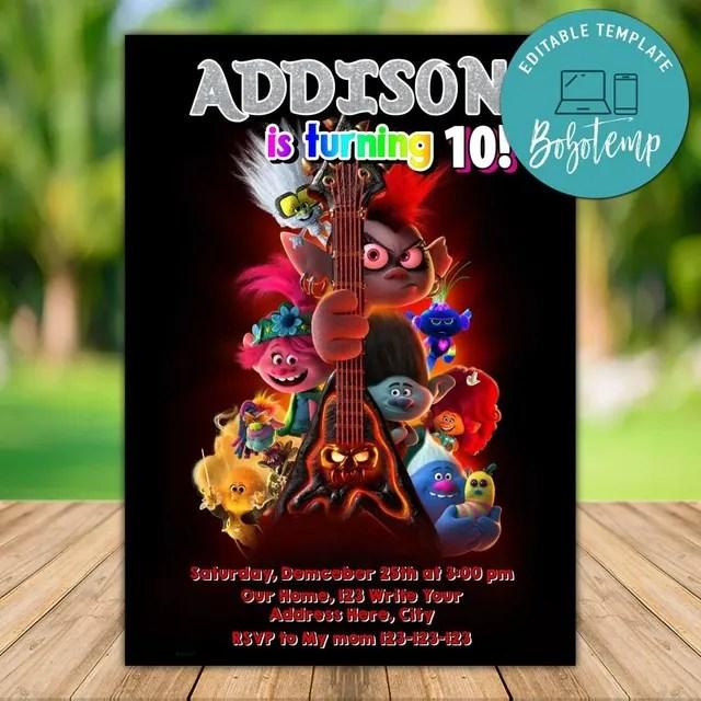 editable trolls world tour birthday invitation instant download