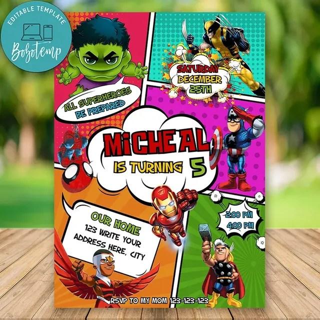 editable superhero avengers birthday invitation instant download