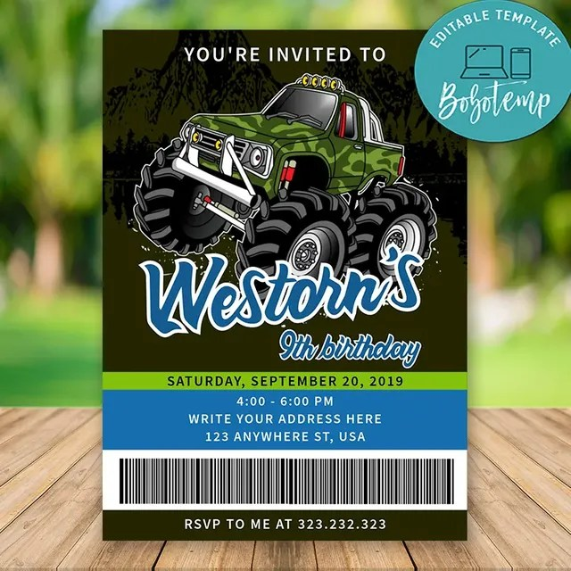 editable monster truck birthday invitations instant download