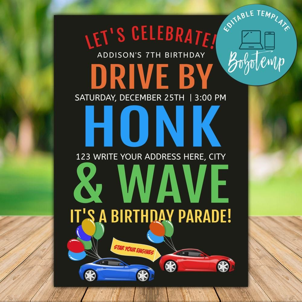 printable drive by honk and wave car parade invitation template