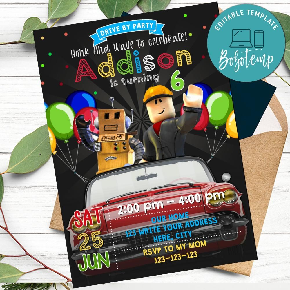 roblox drive by birthday parade invitation printable diy