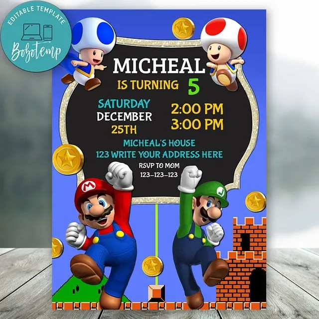 editable super mario birthday party invitation instant download