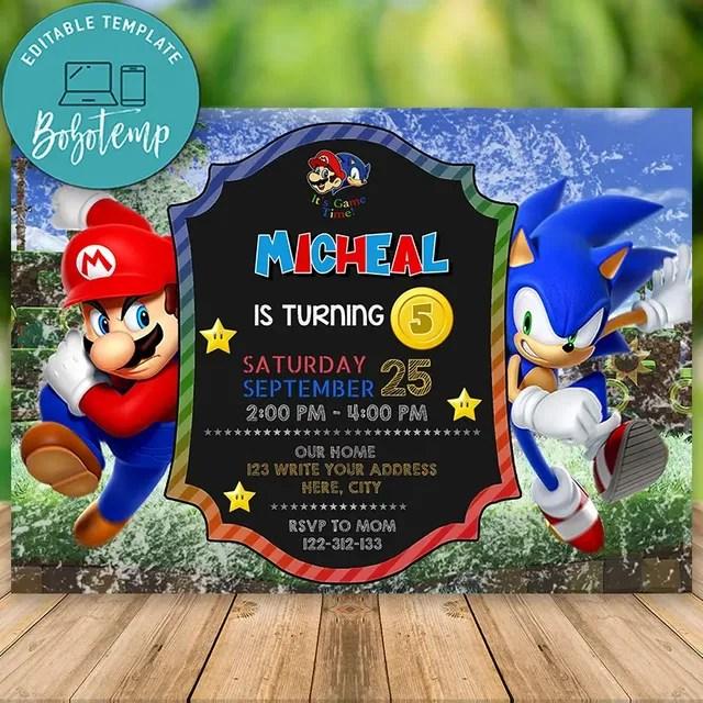 Editable Super Mario Bros And Sonic Birthday Invitation Diy Bobotemp