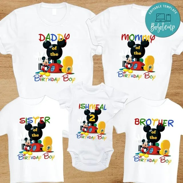 Mickey Mouse Clubhouse Birthday Family Matching Party Shirts Bobotemp