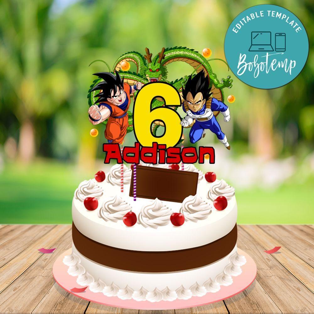 Dragon Ball Z Birthday Cake Topper Template Printable Diy Bobotemp