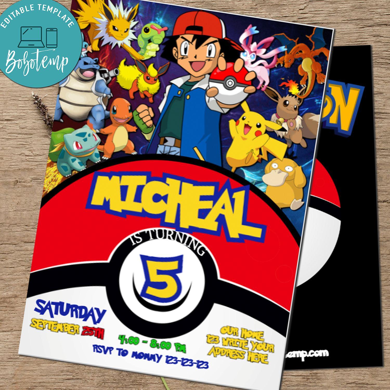 pokemon go pikachu birthday invitation printable