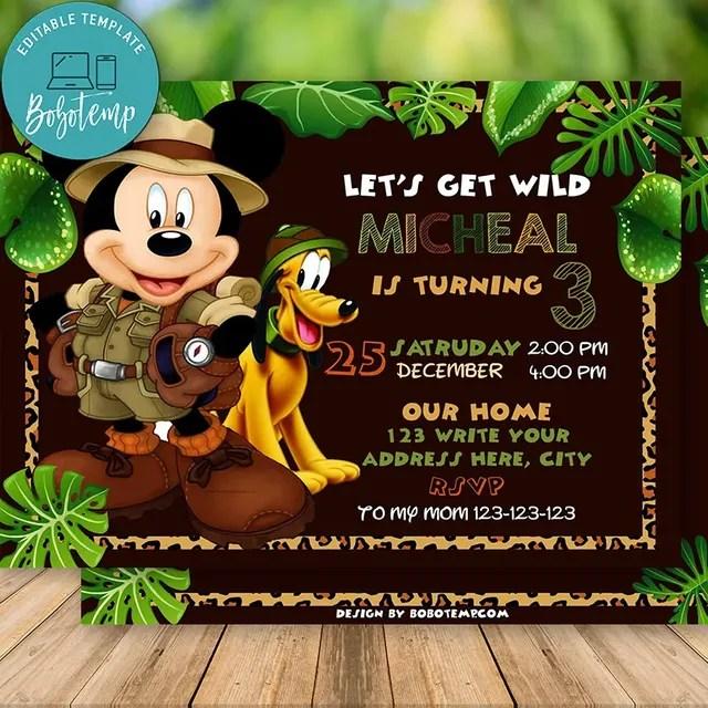 editable mickey safari invitation instant download