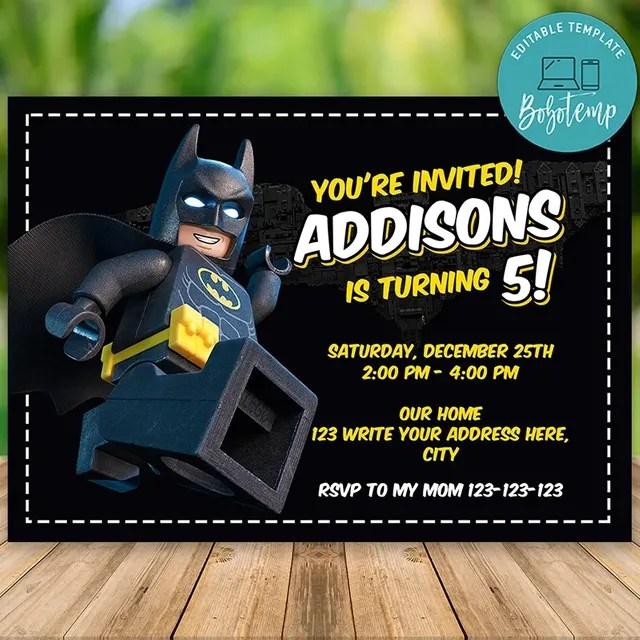 editable lego batman party invitation instant download