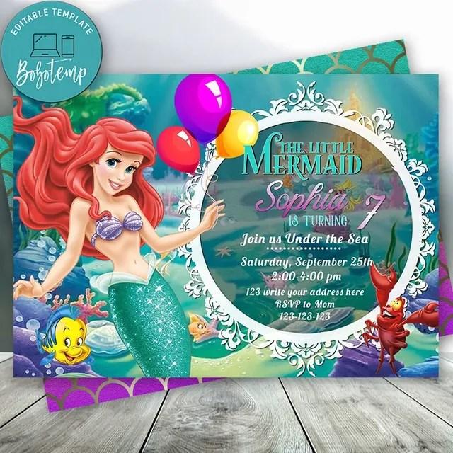 Editable Little Mermaid Ariel Princess Birthday Invitations Diy Bobotemp